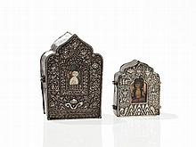 Two Gau Amulet Boxes with Silver Front, Tibet, 19th Century