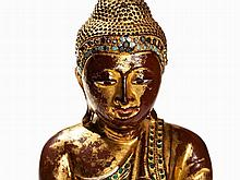 Buddha Figure made of Wood with Gold and Lacquer, Burma, 19th C