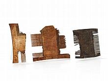 Three Bronze and Ivory Combs, Syria and Egypt, 12th/14th C