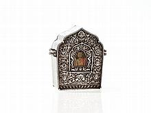 Gau Amulet Box with Chased Silver Front, Tibet, 1900