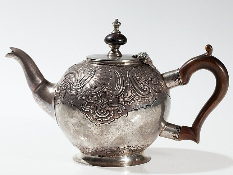 Richly adorned Russian Silver Teapot, Moscow around 1750