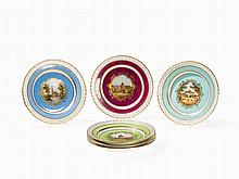 6 Early KPM Plates with Veduta Painting, Berlin, c. 1780-1800