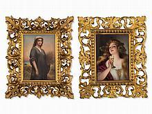 2 Fine Porcelain Miniatures After KPM Models, 19th Century