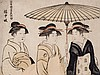 Torii Kiyonaga Color Woodblock Print, Two Geishas, 1782/83