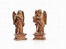 Pair of Wooden Baroque Angel Figurines, circa 1700