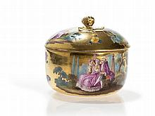 Meissen, Gold Ground Porcelain Box, Watteau Painting, 19th C