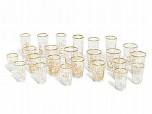 24 Faceted Glasses with Gold Paint, Bohemia, 1st H 20th C