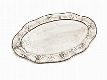 Oval Silver Serving Tray with Embellished Rim, Hanau, ca. 1900