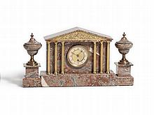 Art Deco Marble Mantle Clock Set with Temple Front, c. 1920