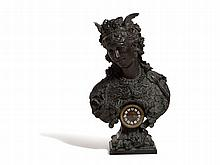 Art Nouveau Figural Mantle Clock 'Time is Money', Paris c 1900