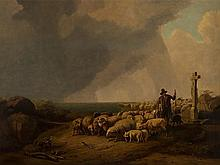 Eugène Verboeckhoven, Sheep in Approaching Thunderstorm, 1849