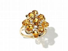 14 Carat Yellow Gold Ring with Citrine and Diamonds, China, 90s