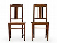 Pair of Caned Chairs with open Backrest, early 20th C