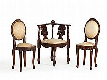 Three Elegantly Carved Upholstered Chairs, 20th C