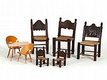 8-Piece Set of Children's and Doll Chairs, 20th C