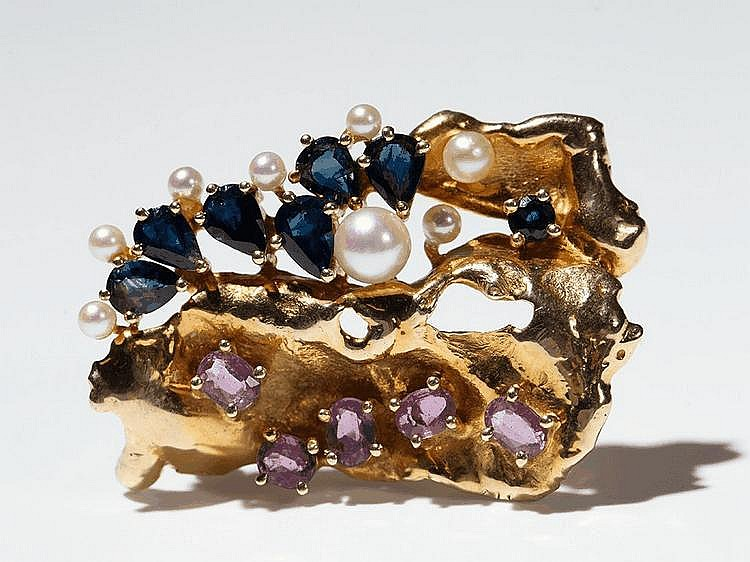 Gold Brooch of Organic shape with Gemstones and Pearls, 1970s