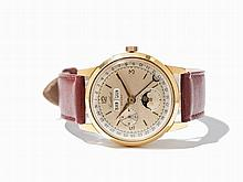 Cortebert Sport Calendar Wristwatch, Ref. 9303, Around 1955