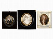Collection of 3 Miniature Portraits, Germany, c. 1800/1826