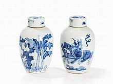 Pair of Blue White Ginger Jars, Qilin and Scholars Rocks, Qing
