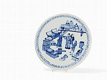 Blue White Circular Plaque with Scholars, 19th C.