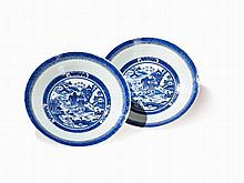 Pair of Blue-White Porcelain Dishes with Landscapes, 19th C.