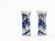 Pair of Blue White Porcelain Vases GU with Equestrians, 19th C.
