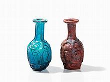Two Hexagonal Glass Bottles, Roman, Presumably Sidonian, 1st C.