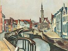 Ulfert Wilke (1907-1987), Oil Painting, View of Bruges, 1932