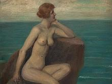 Viktor Schivert (1863-1926), Female Nude on Rock, circa 1920