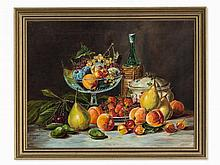 M. Goebel, Oil Painting, Fruit Still Life, Germany, 1913