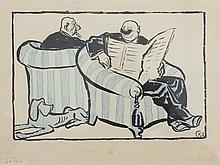 """Ink drawing """"Read the Newspaper"""