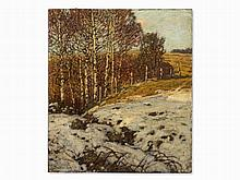 Franz Gruber-Gleichenberg, Painting, 'Birken im Schnee', 1914