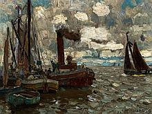 Hans Hartig (1873-1936), Painting, 'Am Haff', c. 1925