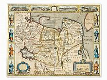 John Speed, A Newe Mape of Tartary, Map in Old Coloring, 1676