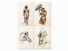 Shiva, 4 Watercolored Nude Studies, Austria, 1968