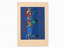 Max Ackermann (1887-1975), Color Silkscreen, Shapes on Blue,´58