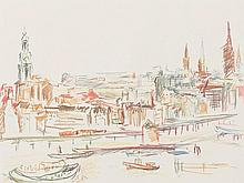 After Oskar Kokoschka, Silkscreen in Colors, 'Hamburg', 1975