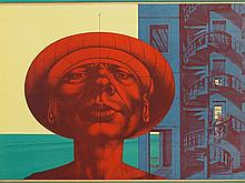 """Rudolf Hausner, Colour lithograph """"Adam Suchbild"""