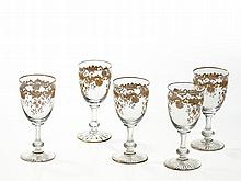 Five Wine Glasses with Gold Decorations by Massenet, 20th C.