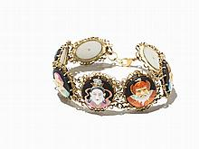 Bracelet with the 7 Lucky Gods, 18 K Gold, Porcelain, c. 1960