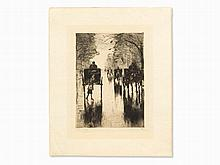 Lesser Ury, Etching, 'Regennasse Tiergartenallee', 1921