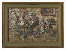 Hanna Rudzka-Cybisowa, Oil on Canvas, Floral Still Life, 1970s