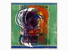 Ernst Wille, Mixed Media on Canvas, 'Schwarze Sängerin', 1986