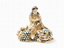 Satsuma Kannon Figure with Gold, on the Back of a Lion, 20th C.