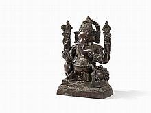 Bronze Figure of the 4 Armed Ganesha on Lotus Base, 19/20th C.
