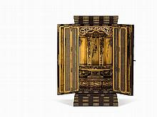 Wooden Butsudan Pageant Shrine with Gilt Interior, 19th C.