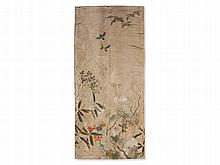 Silk Wall Hanging with Fine Floral Embroidery, Japan, Meiji