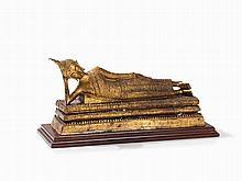 Gilt-Bronze Figure, 'Parinirvana' Reclining Buddha, 19th C.