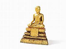 Gilt Bronze Figure, Monk on a High, Trapezoidal Base, 19th C.