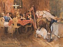 Hans G. Jentzsch (1863-1930), Gouache, A Merry Evening, 1910